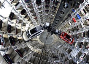 WOLFSBURG, GERMANY - MARCH 10:  A brand new Volkswagen Passat and Golf 7 car stands stored in a tower at the Volkswagen Autostadt complex near the Volkswagen factory on March 10, 2015 in Wolfsburg, Germany. Volkswagen is Germany's biggest car maker and is scheduled to announce financial results for 2014 later this week. Customers who buy a new Volkswagen in Germany have the option of coming to the Autostadt customer service center in person to pick up their new car.  (Photo by Alexander Koerner/Getty Images)