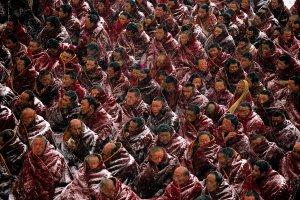 Tibetan monks in Labrang, Gansu, China.