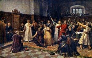 Zvolení Jiříka z Poděbrad králem českým roku 1458.